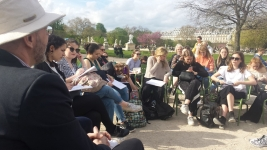 Paris-Take the classroom outside. Professor Dave Andress with St Catherines